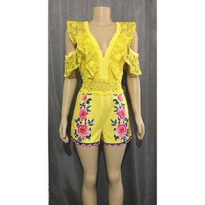 Pants - YELLOW ROSE LACE COLD SHOULDER ROMPER